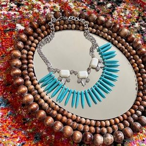 Faux Turquoise, Silver and Gem Fashion Necklace.